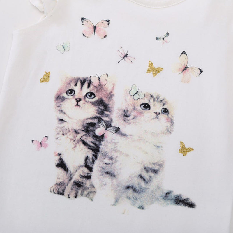 Girls Short Sleeve Cat Printing Top Girls Clothes Wholesale