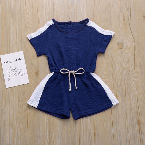 Girls Short Sleeve Color Block Bow Decor Jumpsuit Girls Clothing Wholesalers