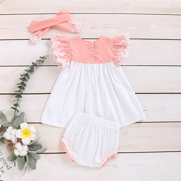 Baby Girls Short Sleeve Color Block Top & Shorts & Headband Baby Wholesale Suppliers
