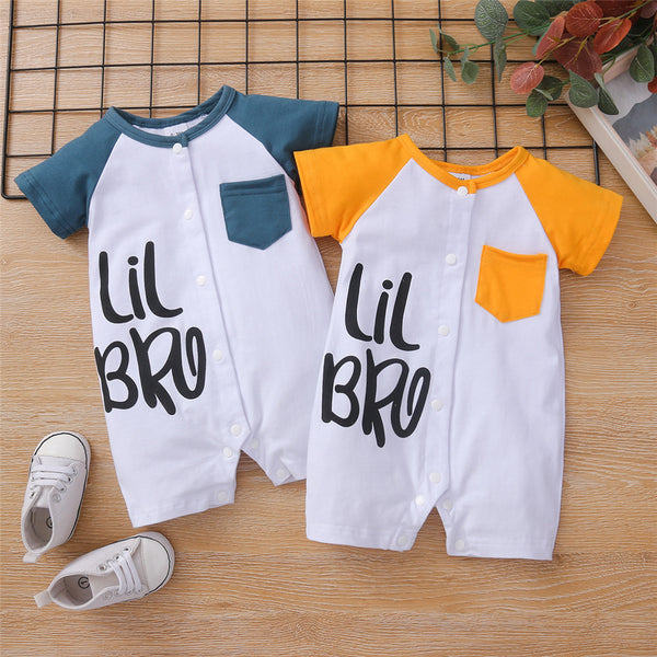 Baby Short Sleeve Color Contact Lil Bro Printed Romper Wholesale Baby Clothes