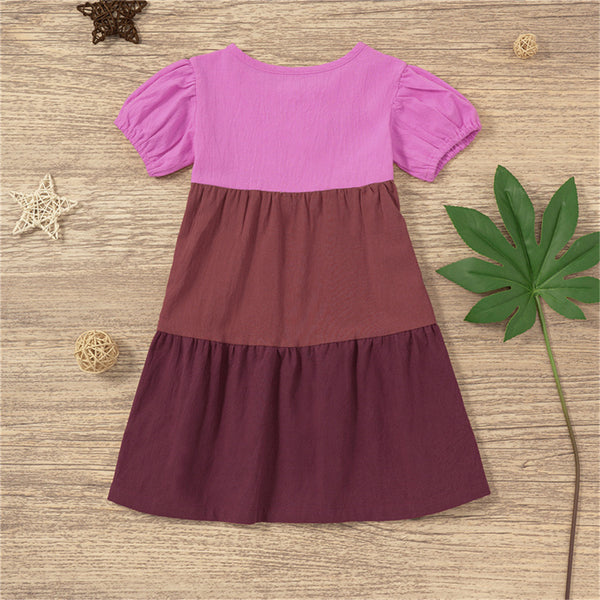 Girls Short Sleeve Color Contrast Dress Toddler Girls Wholesale