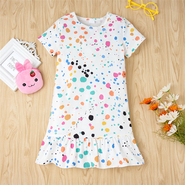 Girls Short Sleeve Color Printed Casual Dress Wholesale Girl Clothing