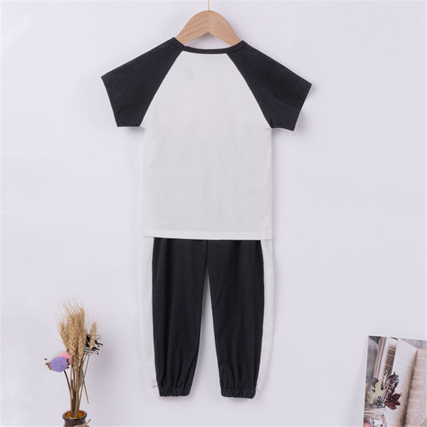 Unisex Short Sleeve Cotta Stay Fly Printed Top & Pants Wholesale Boutique Clothes For Kids