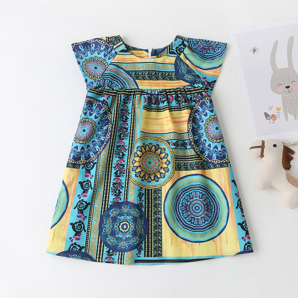 Girls Short Sleeve Crew Neck Fashion Pattern Printed Dress wholesale childrens clothing