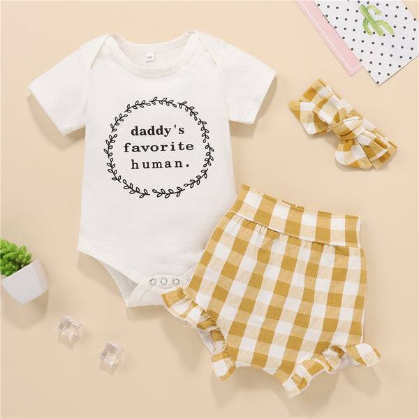 Baby Girls Short Sleeve Daddy's Favorite Human Romper & Plaid Shorts Baby Clothing Warehouse