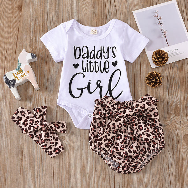 Baby Girls Short Sleeve Daddys Baby Girl Romper & Leopard Shorts & Headband cheap baby girl clothes
