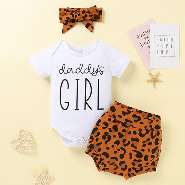 Baby Girls Short Sleeve Daddys Girl Romper Leopard Shorts & Headband baby clothes wholesale usa