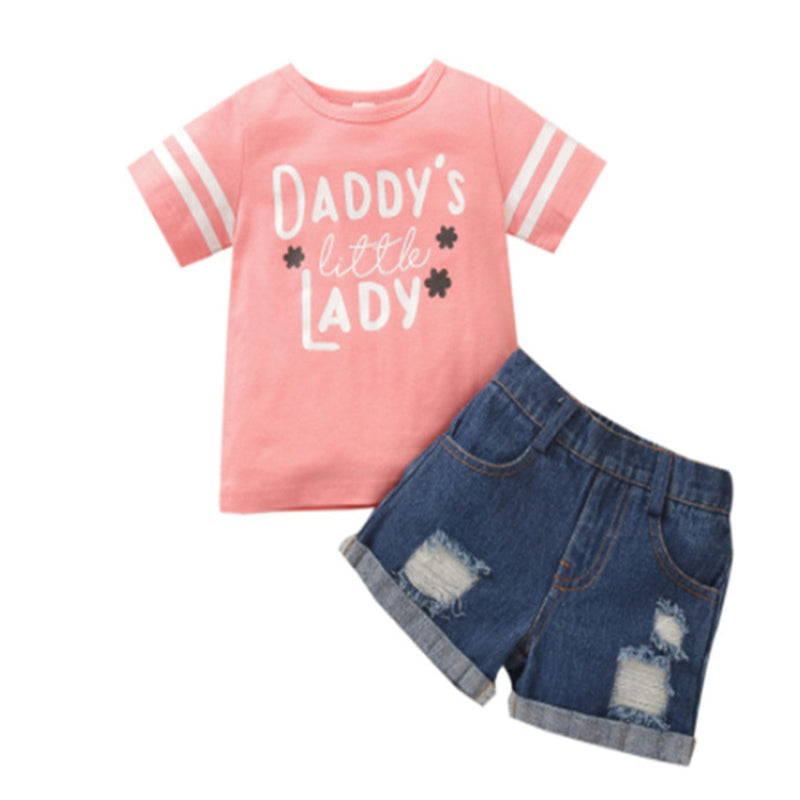 Girls Short Sleeve Daddys Little Lady Striped Top & Denim Shorts Wholesale Girls Clothes