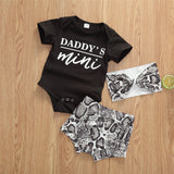 Baby Girls Short Sleeve Daddys Mini Romper & Shorts & Headband Baby Clothes Vendors