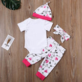 Baby Girls Short Sleeve Daddys Princess Printed Romper & Pants & Hat & Headband Wholesale Baby