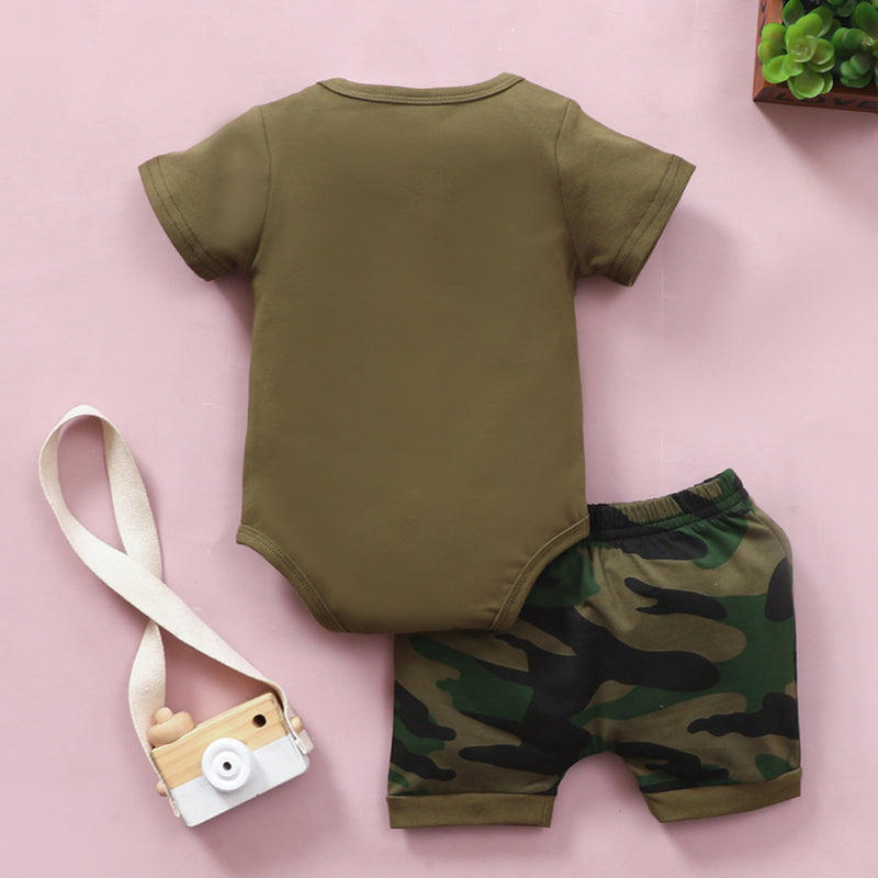 Baby Boys Short Sleeve Dads Little Man Romper & Camo Shorts Baby Wholesale Clothing Suppliers