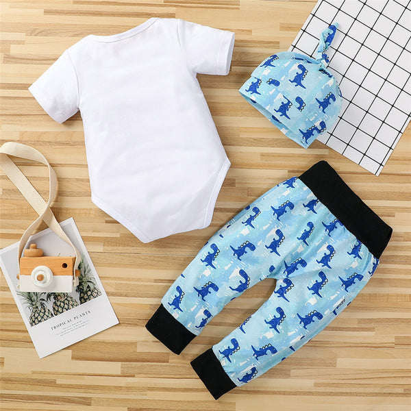 Baby Boys Short Sleeve Dinosaur Letter Romper & Pants & Hat baby clothing wholesale
