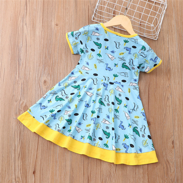 Girls Short Sleeve Dinosaur Printed Dress kids wholesale clothes