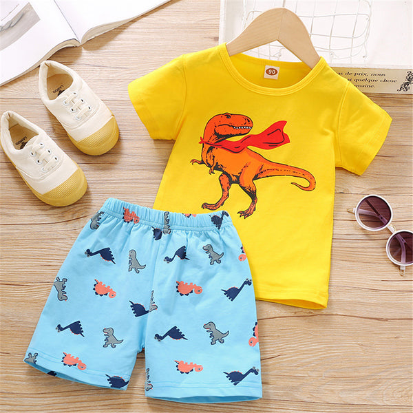 Boys Short Sleeve Dinosaur Printed T-shirt & Shorts wholesale kids boutique clothing