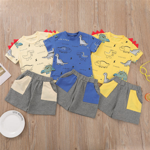Boys Short Sleeve Dinosaur Printed T-shirts & Shorts kids clothes wholesale