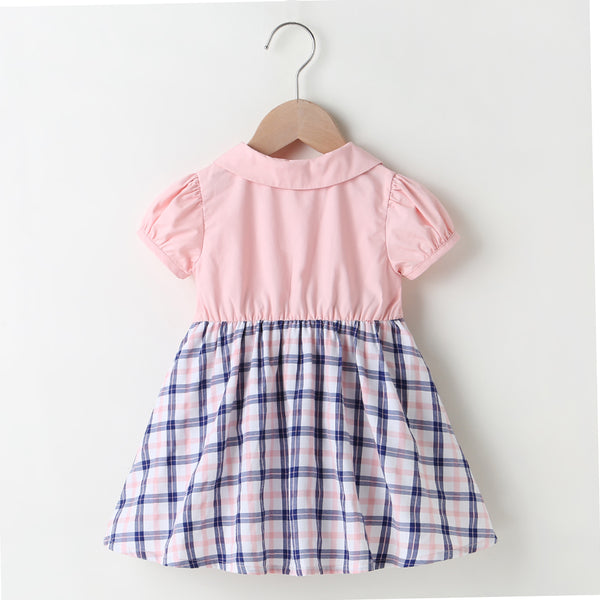 Baby Girls Short Sleeve Doll Collar Plaid Dress Baby Boutique Clothing Wholesale