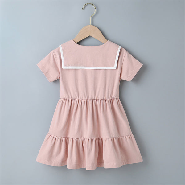 Girls Short Sleeve Doll Collar Pleated Dress kids wholesale clothing