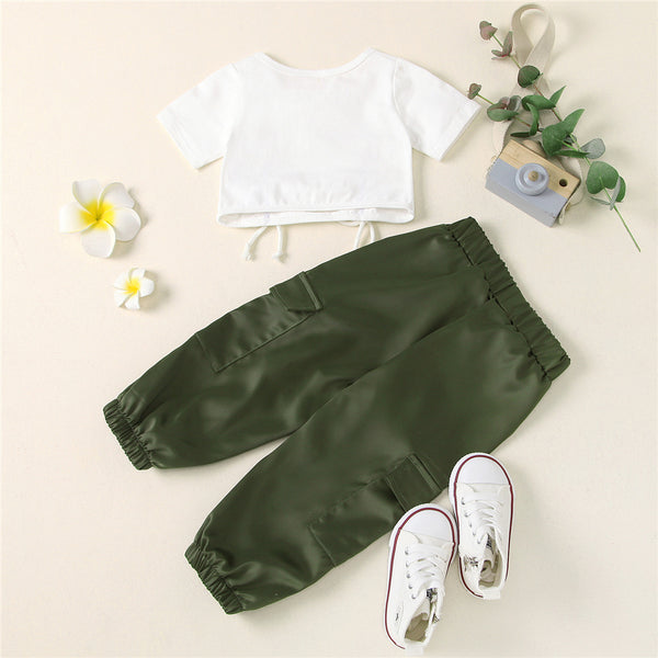 Girls Short Sleeve Drawstring Top & Pants Solid Suit Kids Clothing Suppliers