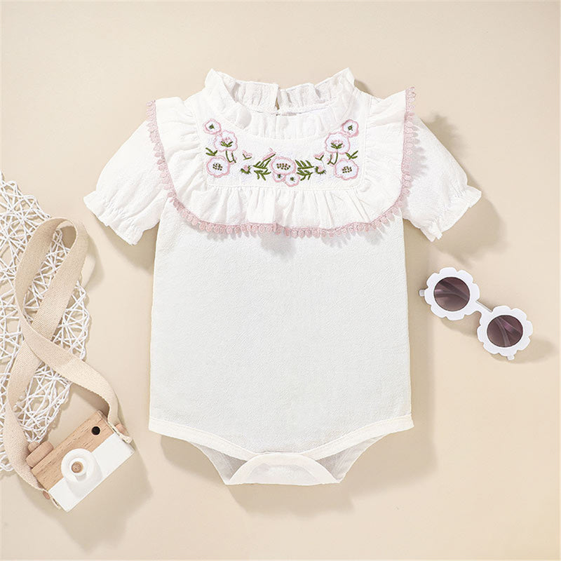 Baby Girls Short Sleeve Embroidery Romper & Skirt wholesale baby clothes usa
