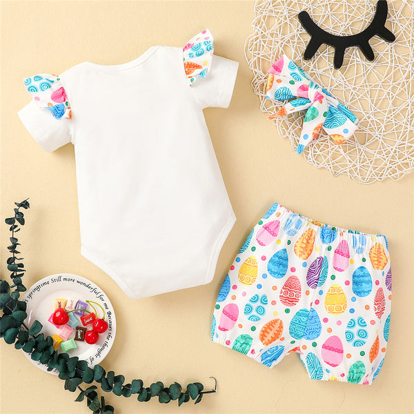 Baby Girls Short Sleeve First Easter Eggs Printed Romper & Shorts & Headband Baby Girl Boutique Clothing Wholesale