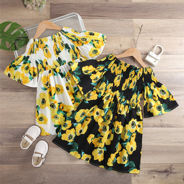 Girls Short Sleeve Floral Printed Dress kids wholesale clothing