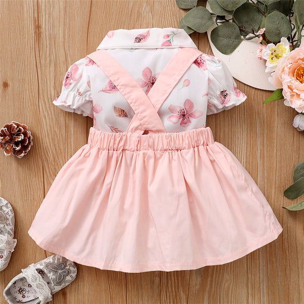Baby Girls Short Sleeve Floral Printed Lapel Top & Suspender Skirt cheap baby girl clothes boutique
