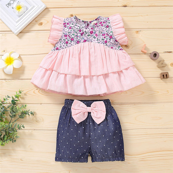 Girls Short Sleeve Floral Printed Layered Splicing Top & Bow Polka Dot Shorts wholesale childrens clothing distributors