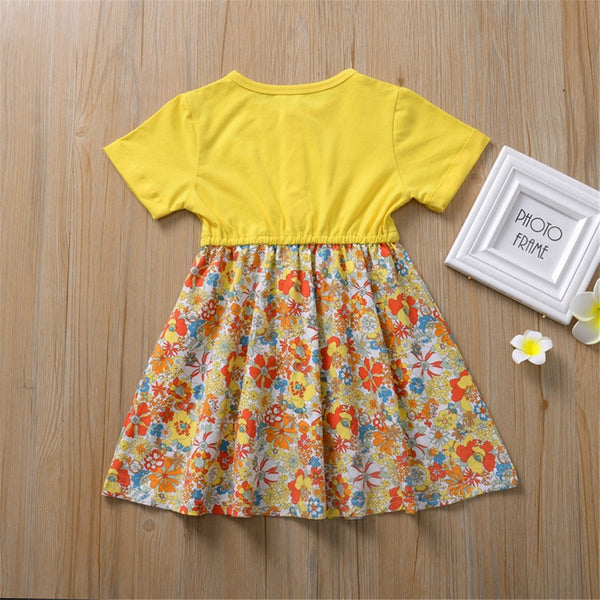 Girls Short Sleeve Floral Printed Princess Dress Cheap Childrens Clothes Wholesale