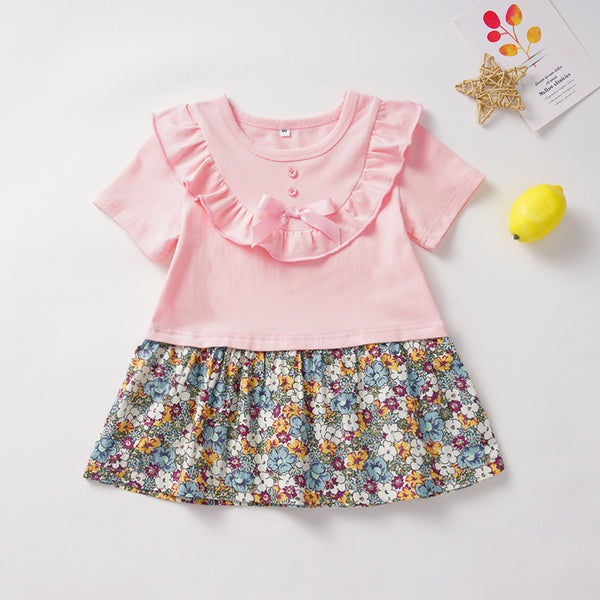 Baby Girl Short Sleeve Floral Printed Ruffled Dress Wholesale Baby Clothes
