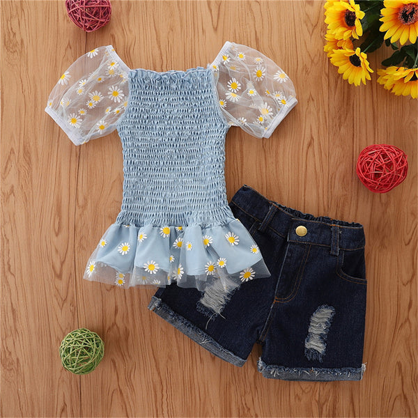 Girls Short Sleeve Floral Printed Top & Denim Shorts childrens wholesale clothing
