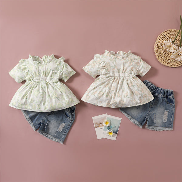 Girls Short Sleeve Floral Printed Top & Denim Shorts kids clothes wholesale