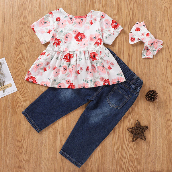 Girls Short Sleeve Floral Printed Top & Ripped Jeans & Headband Girls Clothing Wholesale