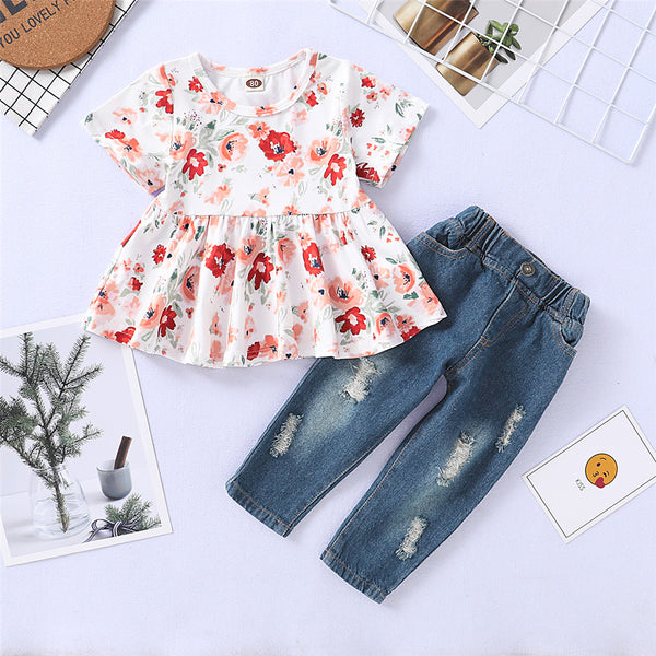 Girls Short Sleeve Floral Printed Top & Ripped Jeans trendy kids wholesale clothing