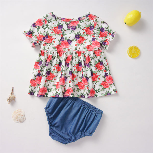 Baby Girls Short Sleeve Floral Printed Top & Shorts Baby Clothing Wholesale Distributors
