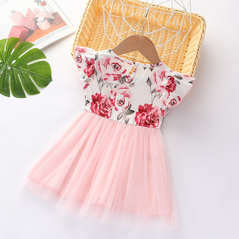Girls Short Sleeve Floral Printed Tulle Dress Wholesale Baby Girl Clothes