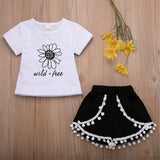 Girls Short Sleeve Flower Letter Printed T-shirt & Fur Ball Skirt Wholesale Little Girls Clothes