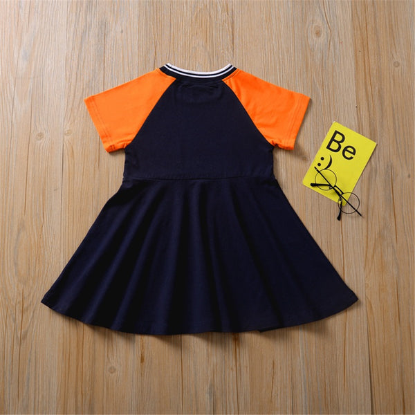 Girls Short Sleeve Flower Printed Color Block Dress Buy Children Clothes Wholesale