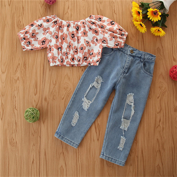 Girls Short Sleeve Flower Printed Top & Ripped Jeans wholesale girls clothes