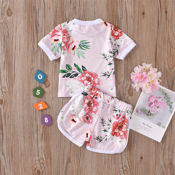 Girls Short Sleeve Flower Printed Top & Shorts wholesale kids clothing suppliers