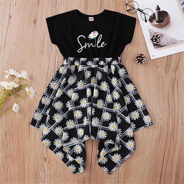 Girls Short Sleeve Flower Smile Printed Irregular Dress Wholesale Kidswear