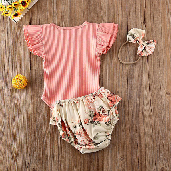 Baby Girls Short Sleeve Flying Sleeve Solid Romper & Flower Shorts & Headband wholesale baby boutique clothing