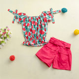 Girls Short Sleeve Fruit Printed Top & Solid Shorts Wholesale Girl Clothing