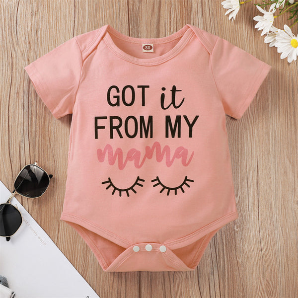 Baby Girls Short Sleeve Got It From My Mama Letter Printed Romper baby clothes vendors