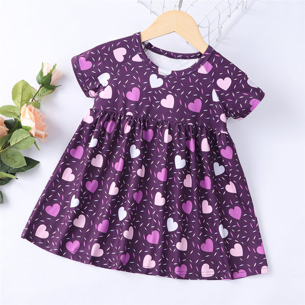 Baby Girls Short Sleeve Heart Printed Dresses bulk baby clothes