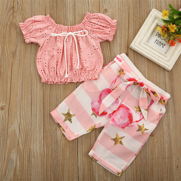 Girls Short Sleeve Hollow Out Pink Top & Flamingo Shorts Trendy Kids Wholesale Clothing