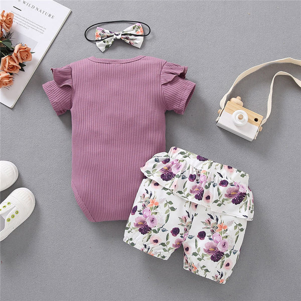 Baby Girls Short Sleeve I Got It From My Mama Romper & Shorts & Headband baby clothes wholesale usa