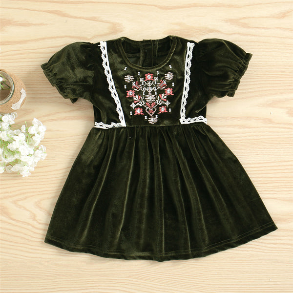 Baby Girls Short Sleeve Lace Embroidery Velvet Vintage Dresses baby clothes wholesale