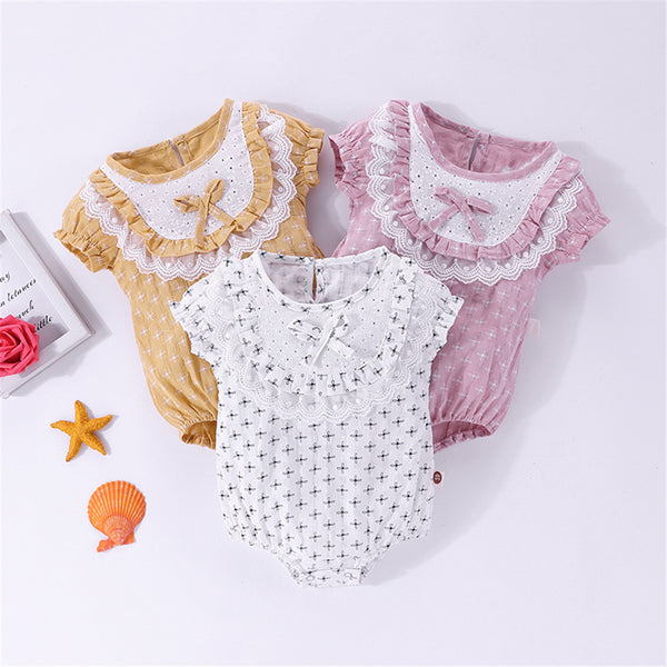 Baby Girls Short Sleeve Lace Romper Wholesale Baby Clothes