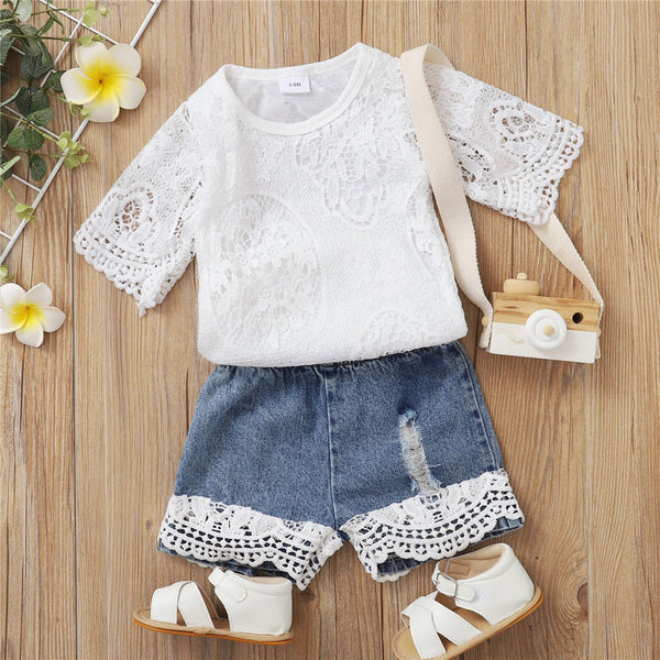 Baby Girls Short Sleeve Lace Romper & Denim Shorts baby clothes wholesale distributors