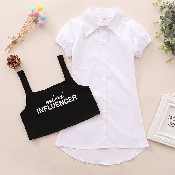 Girls Short Sleeve Lapel Button Dress & Letter Printed Sling Top Wholesale Clothing For Children